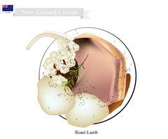 Roasted Lamb, The Popular Dish of New Zealand Stock Illustration