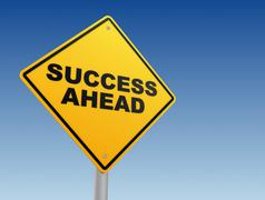 Success ahead road sign concept 3d illustration Stock Illustration