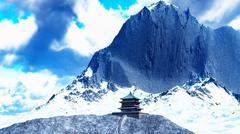 Sun temple - Buddhist shrine in the Himalayas 3d rendering Stock Illustration