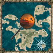 Pirate map of the unknown land with magnifying glass 3d rendering Stock Illustration