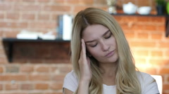 Headache at Work, home , girl  Stock Footage