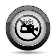 Forbidden video camera icon. Internet button on white background.. Stock Illustration