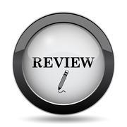 Review icon. Internet button on white background.. Stock Illustration