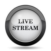Live stream icon. Internet button on white background.. Stock Illustration