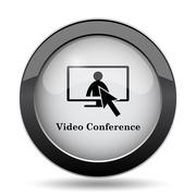 Video conference, online meeting icon. Internet button on white background.. Stock Illustration