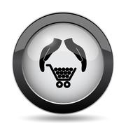 Consumer protection, protecting hands icon. Internet button on white backgrou Stock Illustration