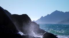 Sea waves crashing on the rocks with water splash Stock Footage