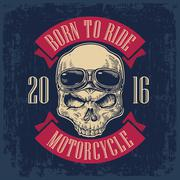Skull with glasses for motorcycle on forehead Stock Illustration