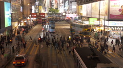 Crowded street at Causeway Bay, Hong Kong. Stock Footage