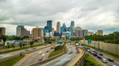 Minneapolis Skyline Traffic Time Lapse Logos Removed 4K 1080p 35w Stock Footage