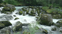 River and waterfall landscape - wild scenery, Norway Stock Footage