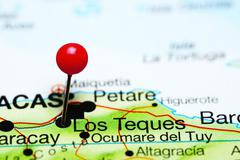 Los Teques pinned on a map of Venezuela Stock Photos