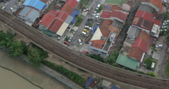 Bird eye view of poor district and riding train on railways. Kuala Lumpur Stock Footage