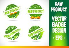 Raw product Badge Logo Vector Stock Illustration