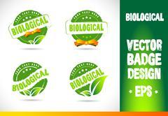 Biological Badge Vector Stock Illustration