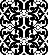 Vintage Vector hand-drawn seamless pattern with ethnic floral ornament Stock Illustration
