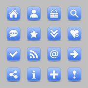 Blue satin icon web button with white basic sign Stock Illustration