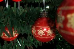 Christmas Baubels In A Tree Stock Illustration