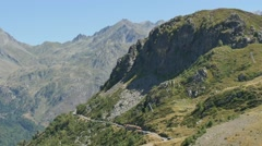 Train of Artouste with cliffs in the french mountains Pyrenees Stock Footage