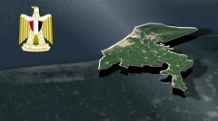 Damietta with Coat Of Arms Animation Map Stock Footage