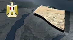 North Sinai with Coat Of Arms Animation Map Stock Footage