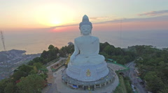 Aerial view the beautify Big Buddha in Phuket island Stock Footage