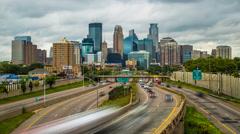 Minneapolis Skyline Traffic Time Lapse Logos Removed 4k 1080p 35w Stock Footage