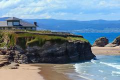 Los Castros beach (Galicia, Spain). Stock Photos