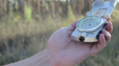 Tourists Enjoy a Compass on a Journey Stock Footage