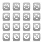 Gray arrow rotation sign square icon web button Stock Illustration
