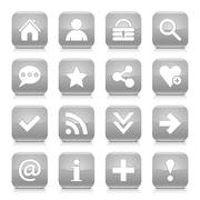 Gray basic sign rounded square icon web button Stock Illustration