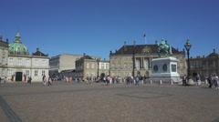 Amalienborg royal palace square - Copenhagen, Denmark Stock Footage