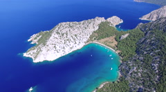 4K Aerial View of Beautiful Cove, Meditteranean Sea and Mountains. Stock Footage