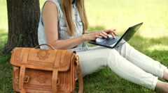 Student sitting on the grass and typing something on laptop Stock Footage