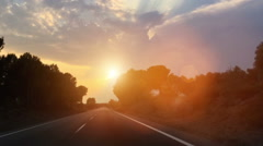 Driving Road in sunset Stock Footage