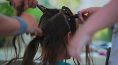 African braids braided girl Four Hands Stock Footage