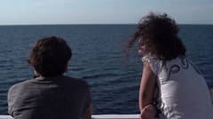 Girls Talking on a Boat with a Sea View 4K Stock Footage