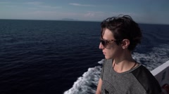 Short-Haired Girl on a Sea Boat 4K Stock Footage