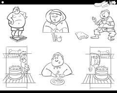 People on diet set Stock Illustration