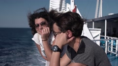 Girls Chatting on a Boat at Sea 4K Stock Footage