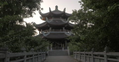 Tourist shooting Bell Tower of Bai Dinh Temple, Vietnam Stock Footage