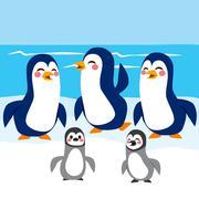 Funny Penguins Antarctica Stock Illustration
