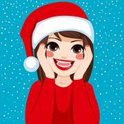 Happy Surprised Christmas Woman Stock Illustration