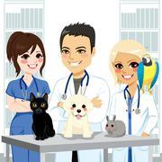 Veterinarian Team Pets Stock Illustration