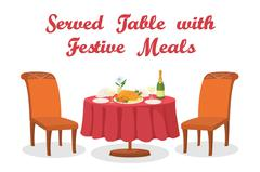Cartoon Table with Meal, Isolated Stock Illustration