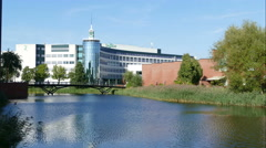 Reflection in pond at the Saxion highschool in Deventer, time lapse Stock Footage