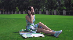 Brunette girl enjoy music at the open air Stock Footage