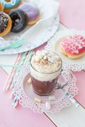 Hot chocolate and donuts Stock Photos