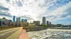 Minneapolis Skyline Stone Arch Bridge Time Lapse Logos Removed 4K 1080p Stock Footage