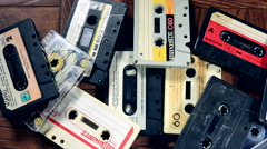 Old mixed tape found amongst a pile of audio cassettes Stock Footage